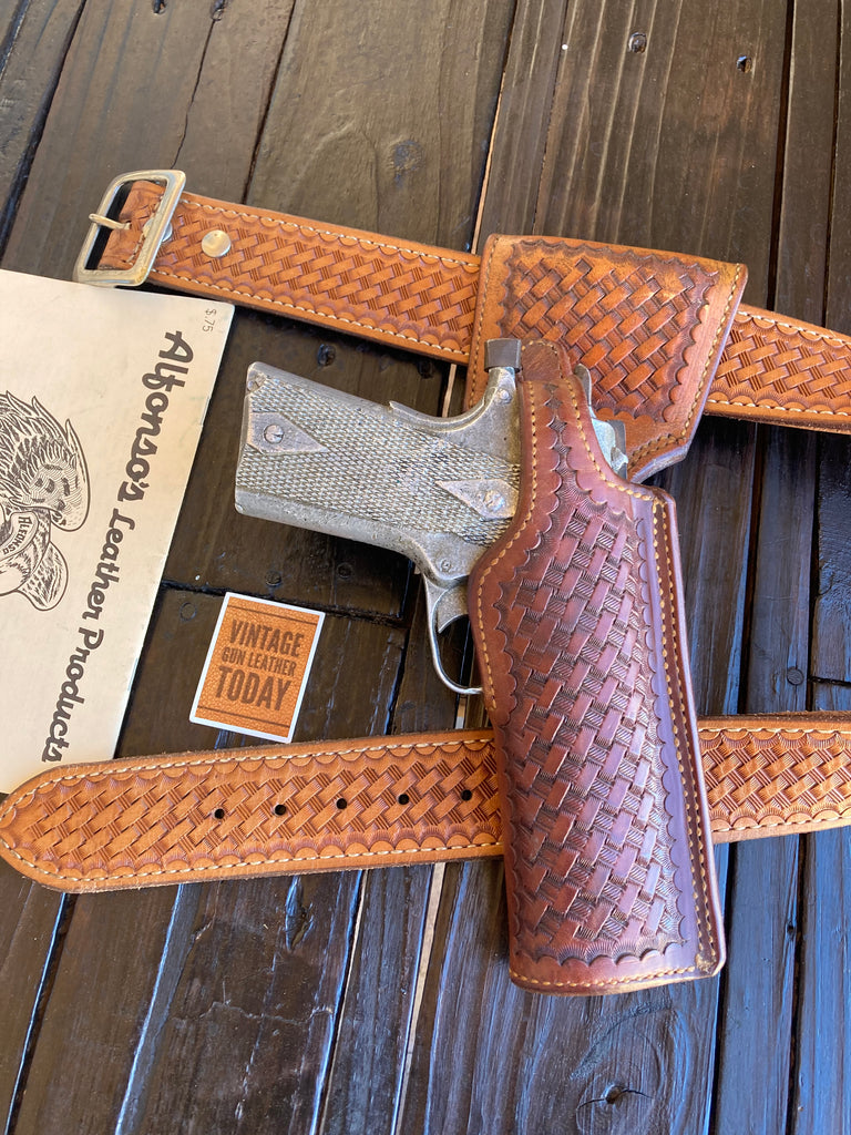 "Alfonsos Brown Basketweave Leather Holster For Colt 45 1911 5"" Government Right"