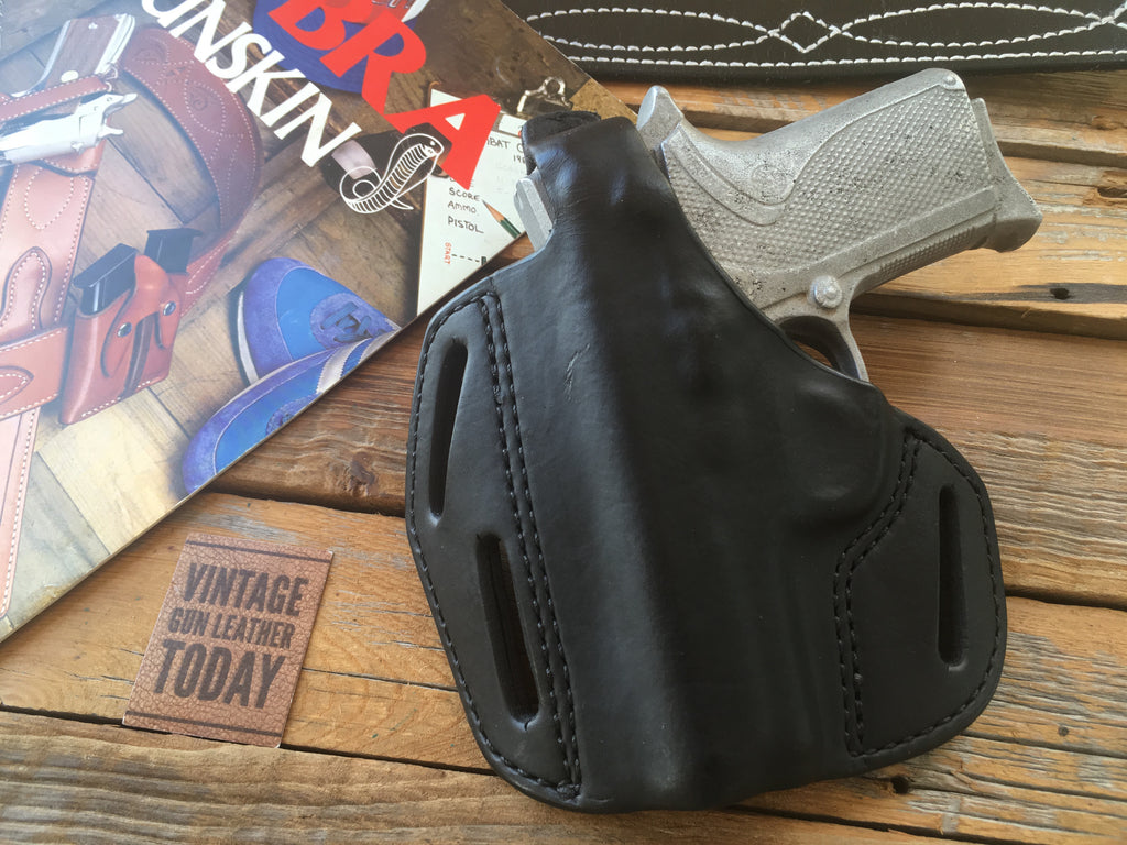 Vintage Cobra Gunskin Black Leather OWB Holster For S&W 3914
