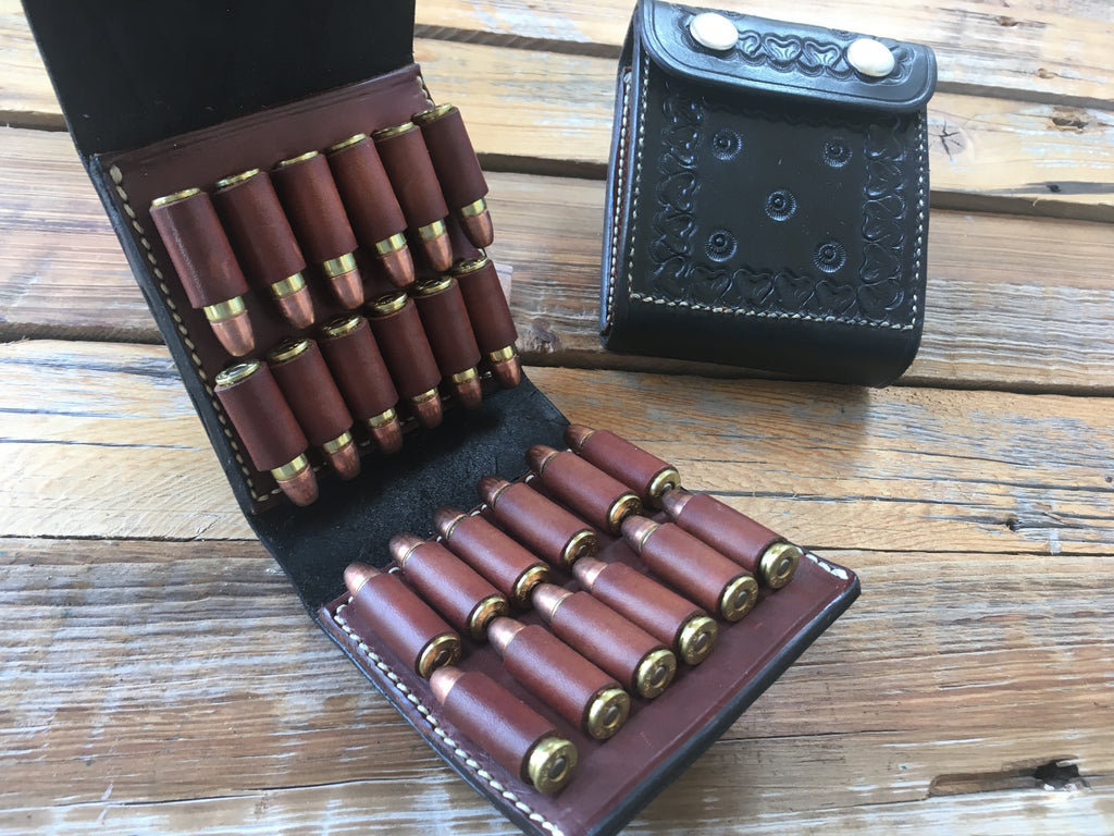 Beautiful Vintage Alfonso's .38 Leather Pistol Cartridge Wallet Ammo Belt Case