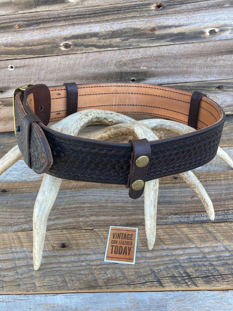 "Tex Shoemaker Cordovan Brown 2 1/4"" Duty Belt, 3 Belt Keepers and Brass Buckle"