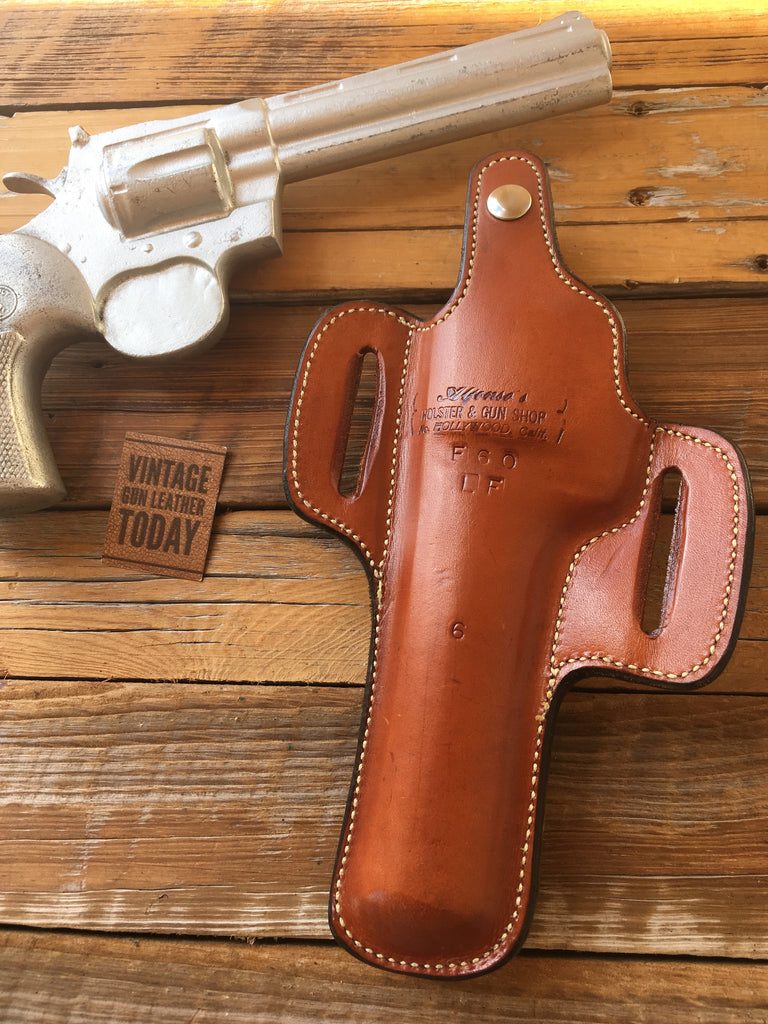 "Alfonsos Brown Leather F60 Suede Lined Holster for 6"" S&W L / K or Colt Python Revolver"