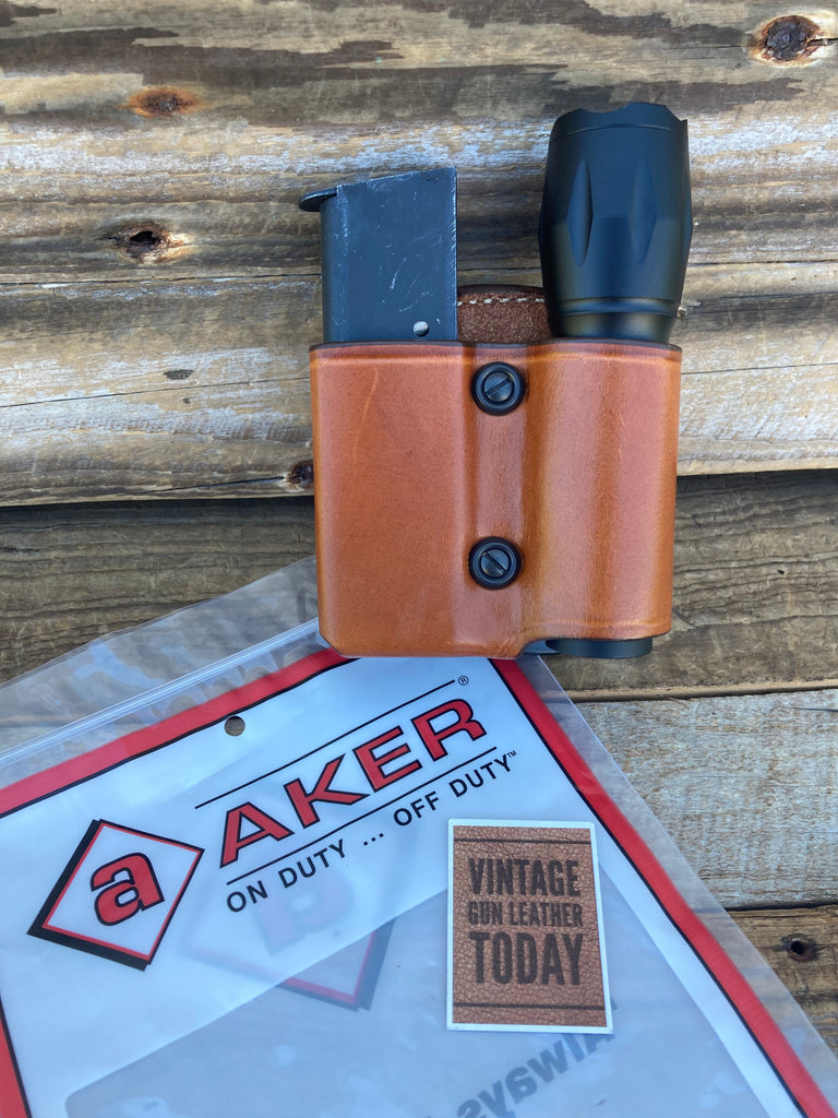 "AKER Brown Leather Paddle Single Stack Magazine Flashlight Holder 1"" Diameter"