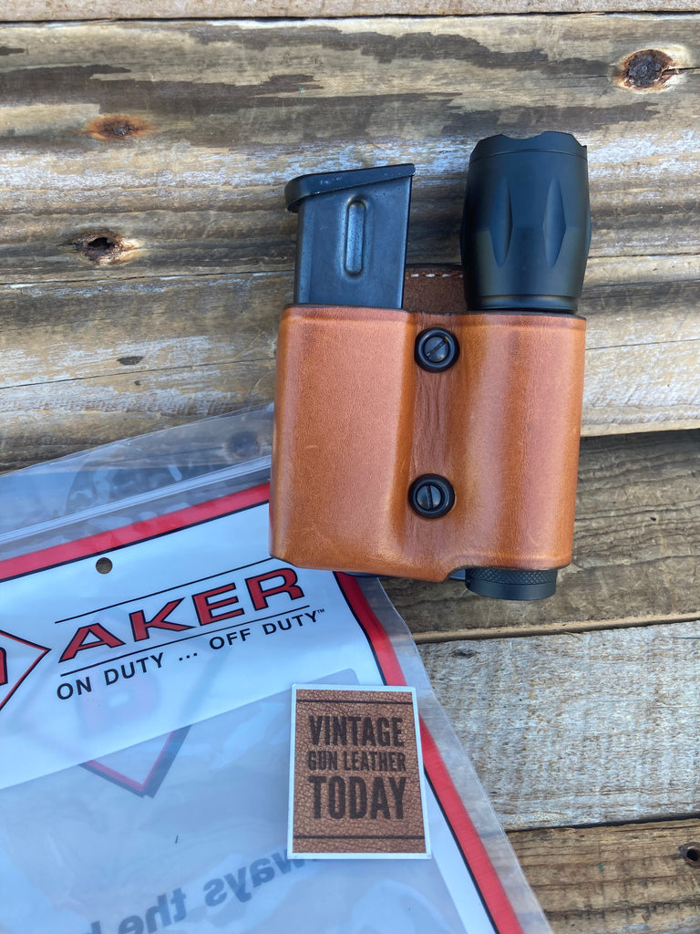 "AKER Brown Leather Paddle Double Stack 9 Magazine Flashlight Holder 1"" Diameter"