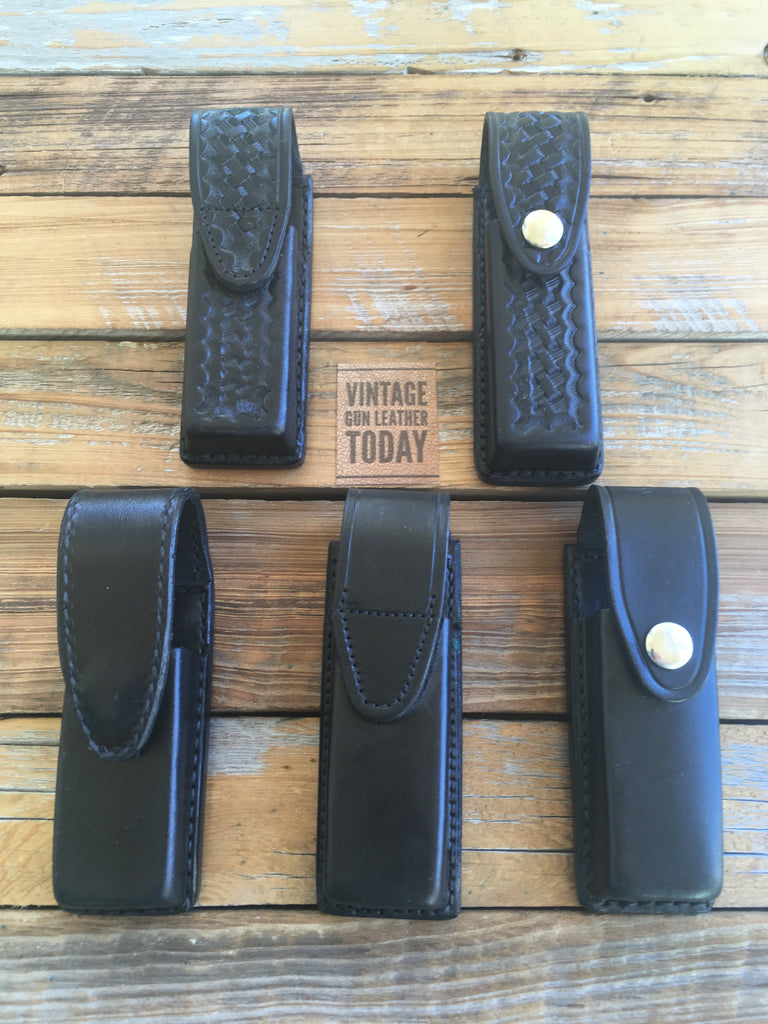 Tex Shoemaker Black Leather Police Duty Double Magazine Carrier For Glock 17