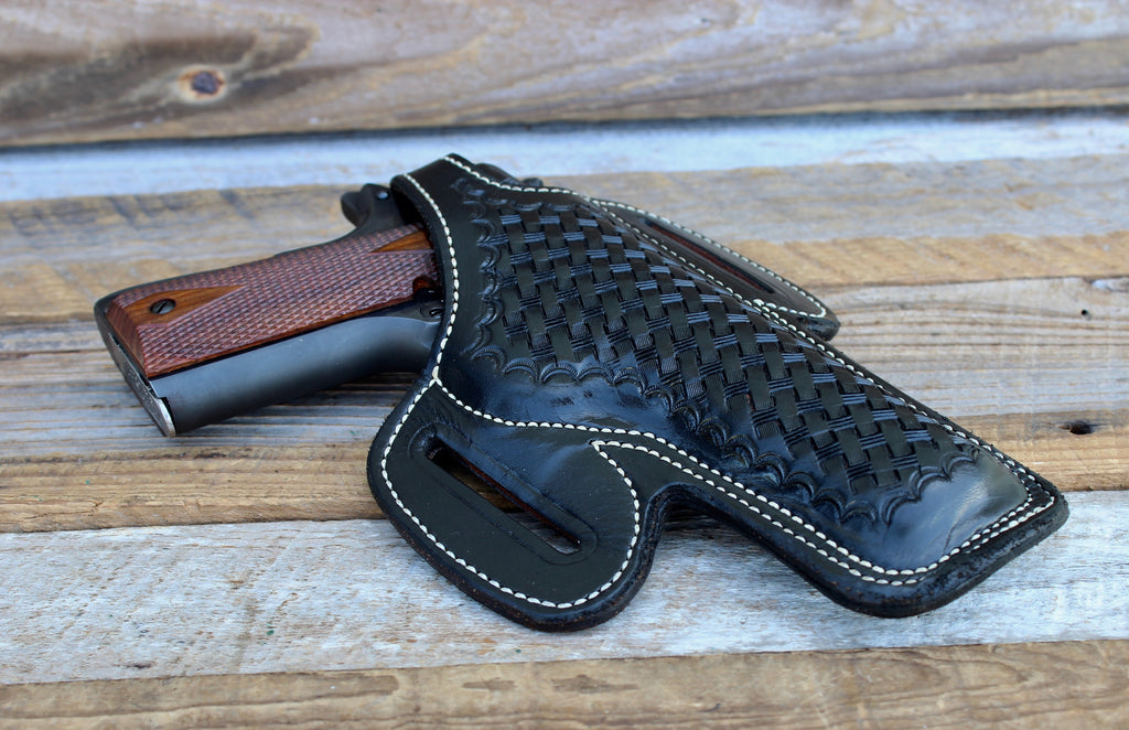 Alfonso's Black Basketweave Leather Lined Holster for Colt 45 Government 1911 5