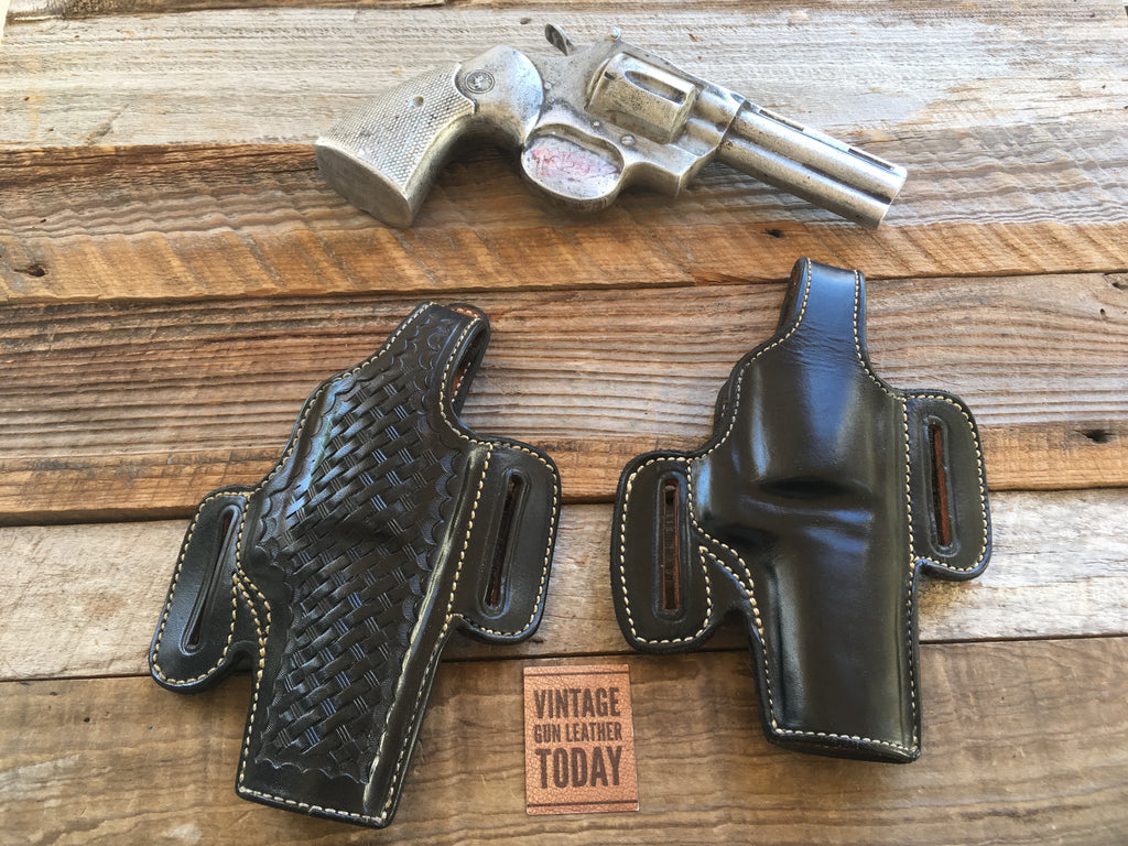 "Alfonso's F60 Black Leather Suede Lined Holster For Colt Python 4"" S&W L Frame 4"" Revolver"