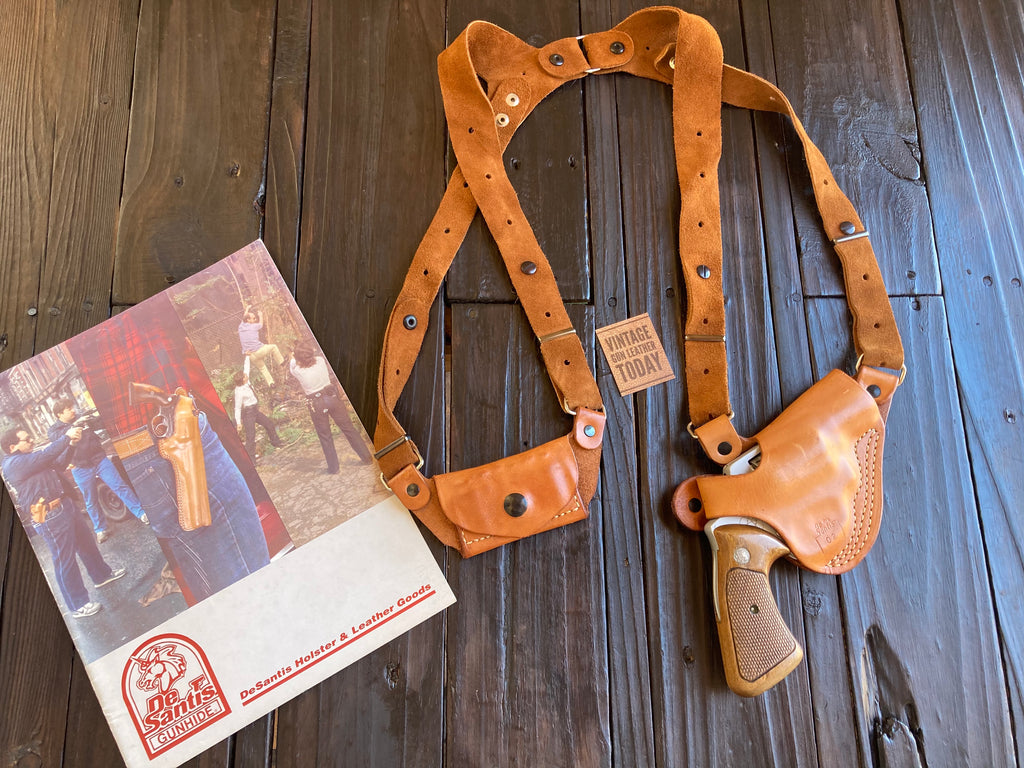 "Vintage Desantis Brown Leather Shoulder Holster Rig For S&W J Frame 2"" Revolver"