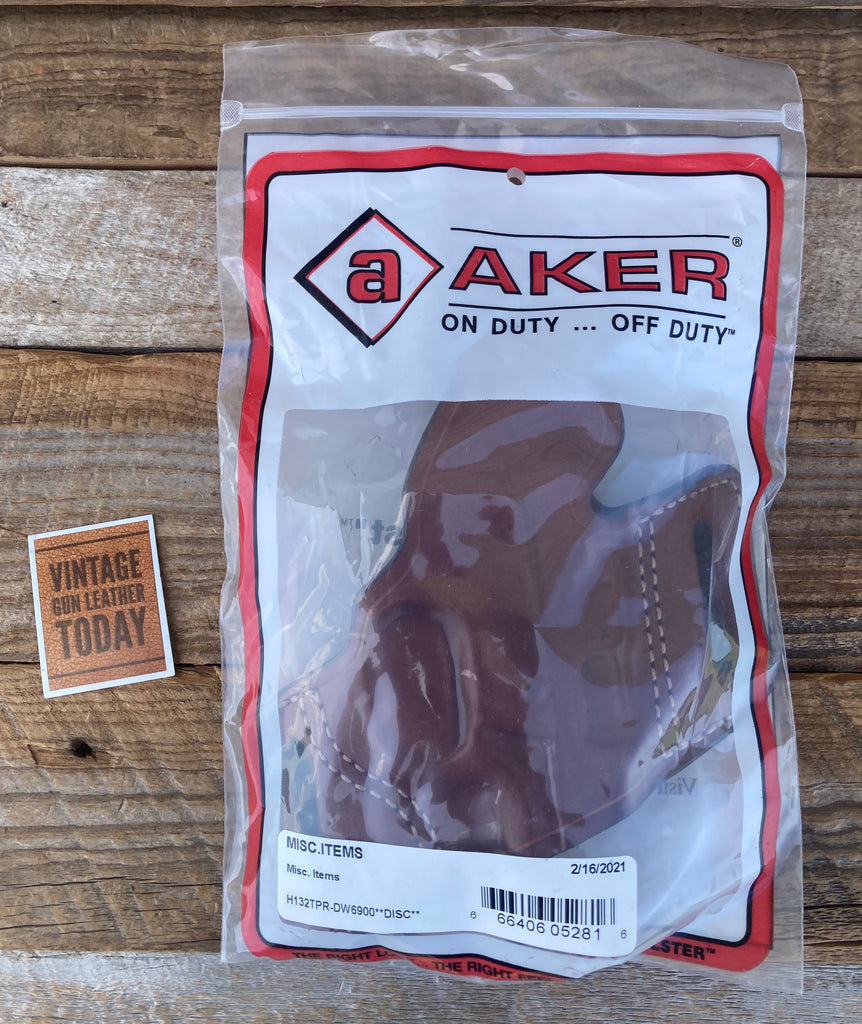 Discontinued Vintage AKER Plain Brown OWB Holster For S&W 6900 Series Round