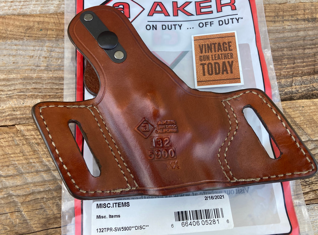 Discontinued Vintage AKER Natural Brown OWB Holster For S&W 5900 Series Round