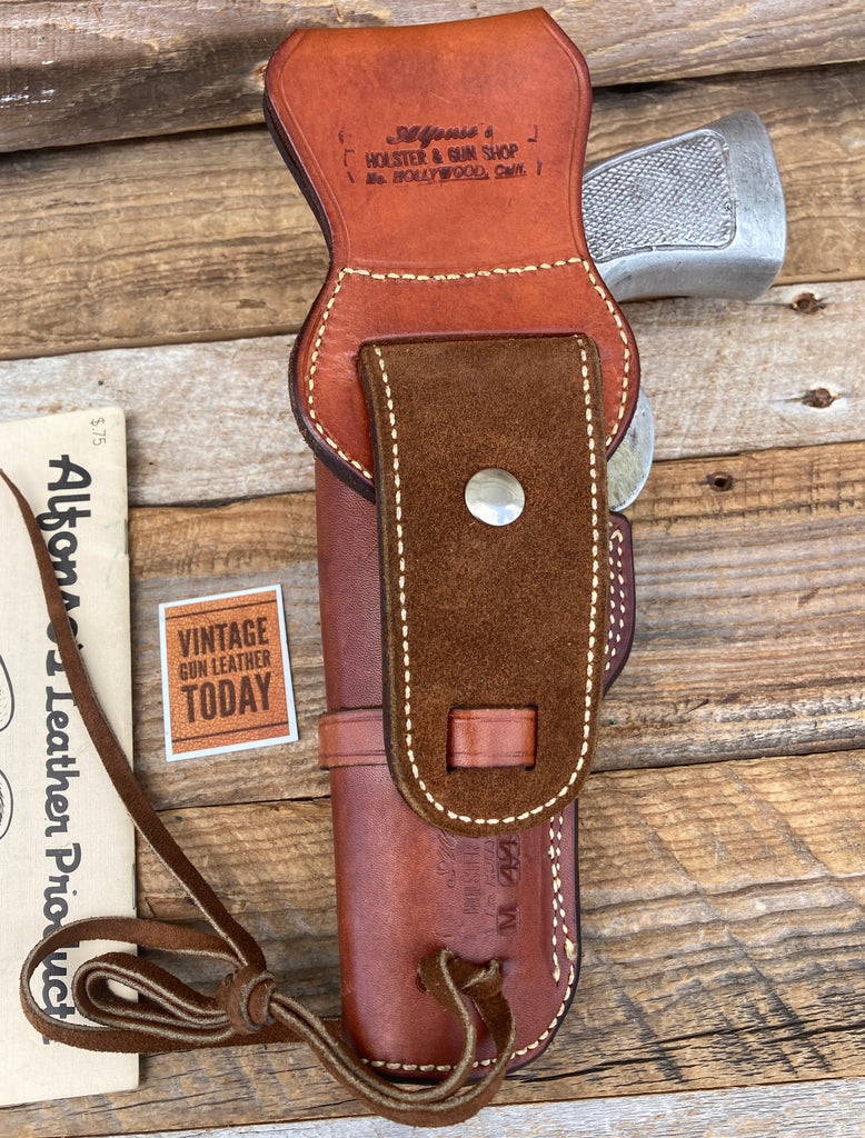 "Alfonso's Brown Leather Suede Lined Western Holster for 5"" N Frame .44 Revolver"