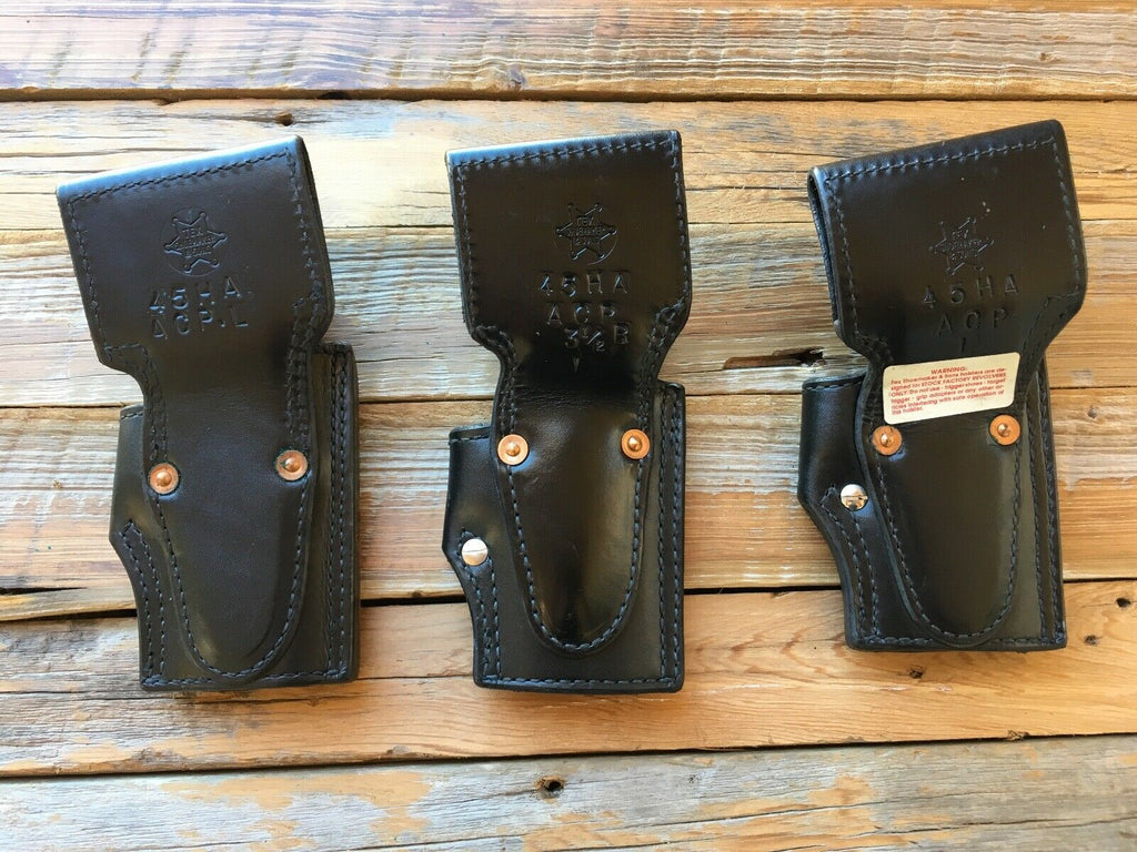 Tex Shoemaker Black Leather Lined Holster For Colt Commander LEFT
