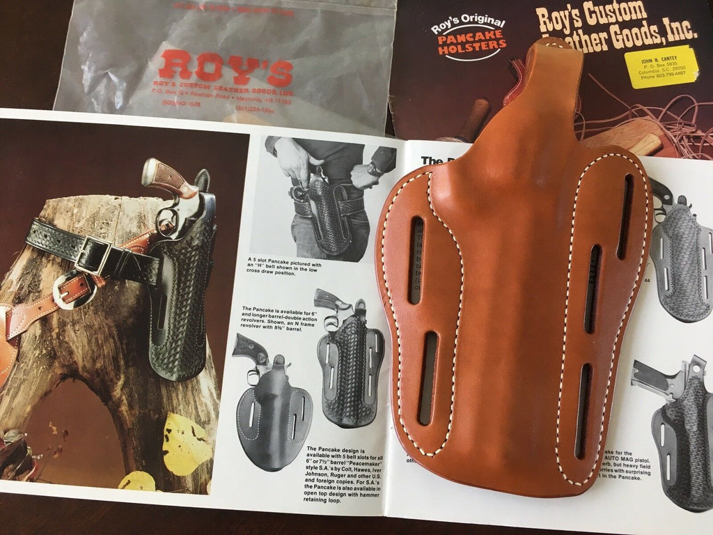 ROYS ORIGINAL 011 Western Leather OWB Holster Reg. or Cross For Medium Revolver