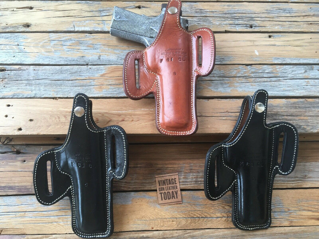 "Vintage Alfonsos Basketweave Leather Lined Holster for Colt .45 1911 5"" LEFT"