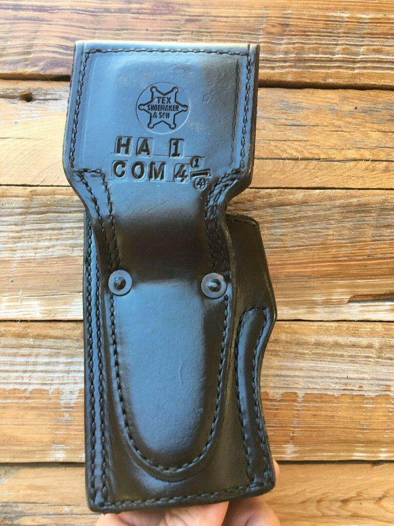 Vintage Tex Shoemaker Plain Black Leather Lined Holster For Colt Commander