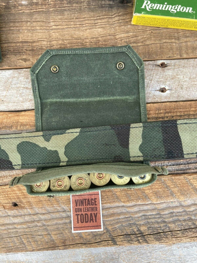 Waxed OD Green Canvas 6 Round .12 Gauge Shotgun Shell Pouch Carrier Military