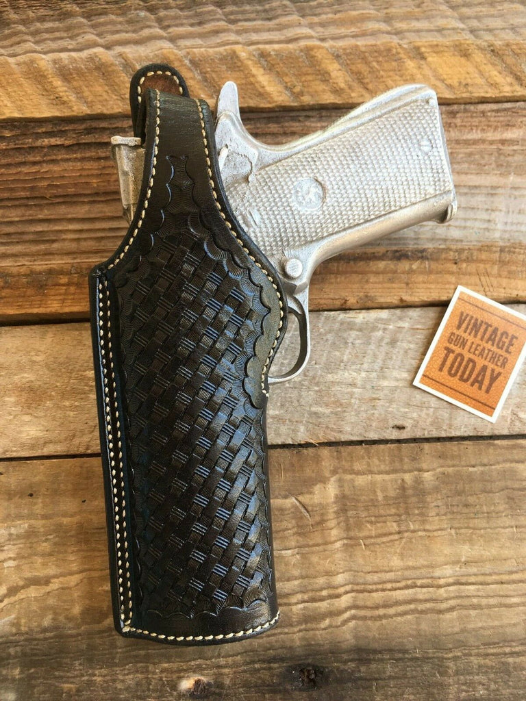Vintage Alfonso's Black Basketweave Leather Lined Holster For Colt Commander