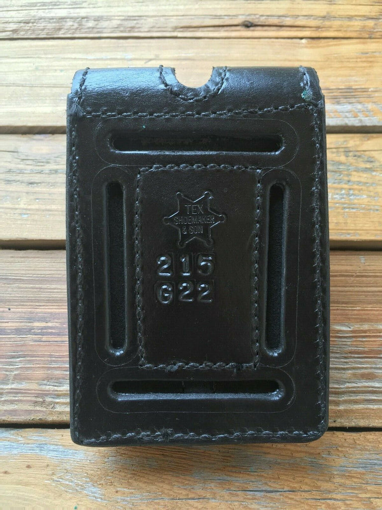 Tex Shoemake Leather Police Duty Glock 22 Double Magazine Carriers G22