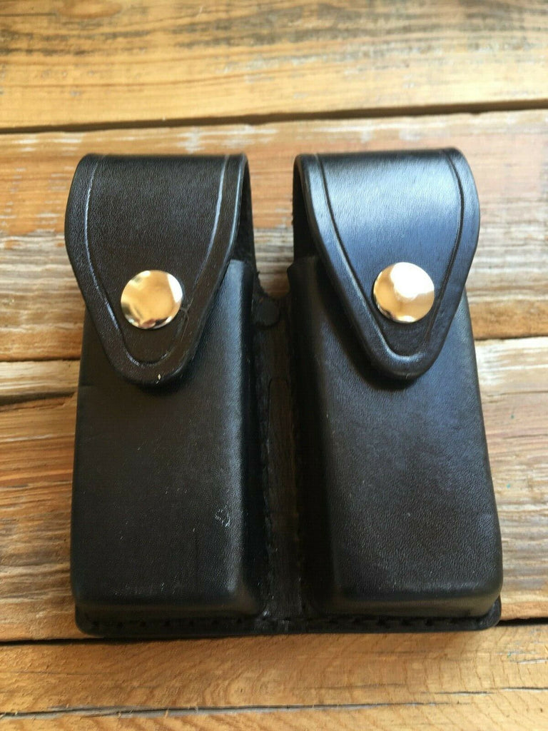 Tex Shoemaker Black Leather Police Duty Double Magazine Carrier For Glock 19 23 32