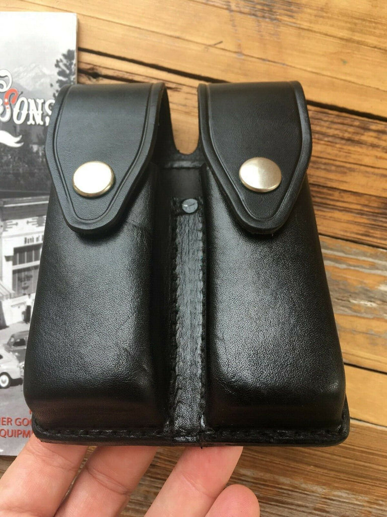 Tex Shoemaker Black Leather Police Duty Double Magazine Carrier For Glock 21