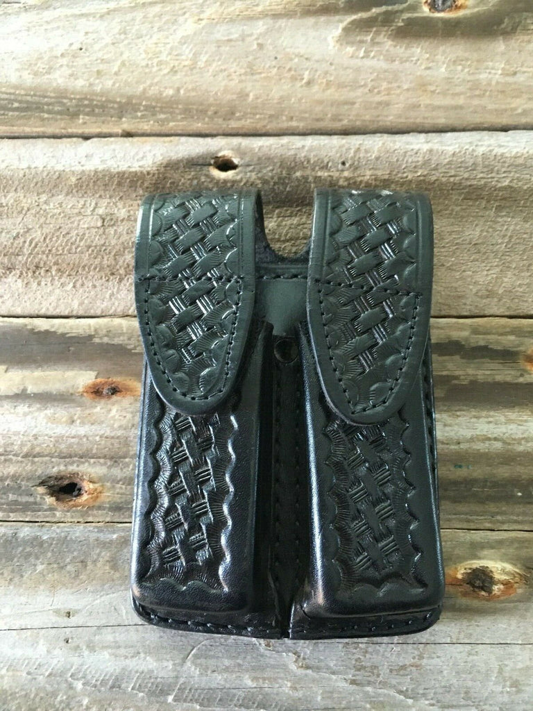 Tex Shoemaker Black Leather Police Duty Double Magazine Carrier For Glock 23