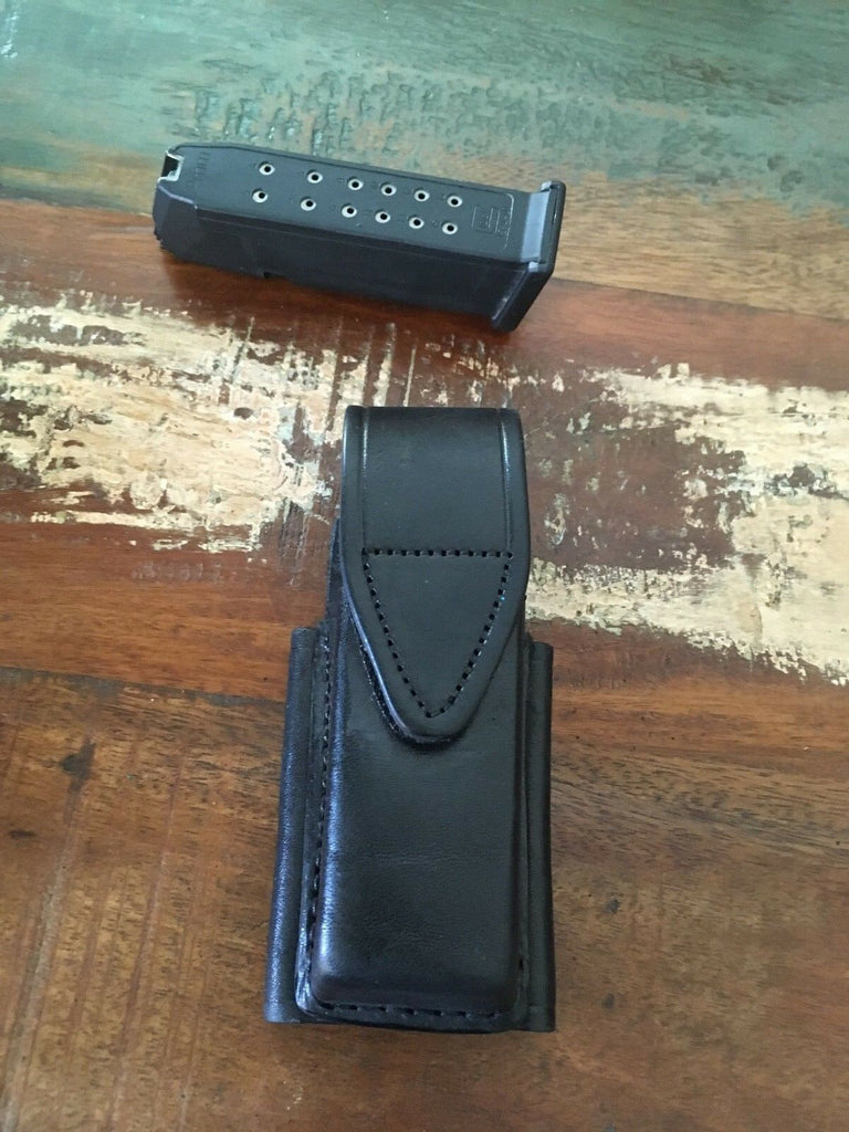Vintage Tex Shoemaker Black Leather Horizontal Magazine Carrier For Glock 17