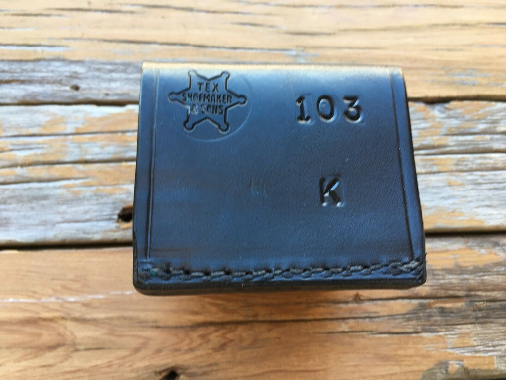 Tex Shoemaker 103 K Plain Black Leather Double Speedloader Holder For K Frame