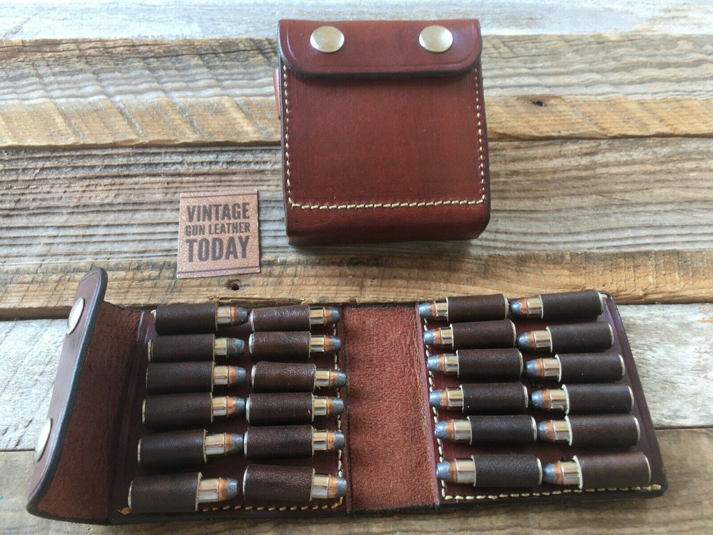 Alfonso's .38 / .357 Cartridge Ammo Brown Plain Leather Wallet Ammo Case