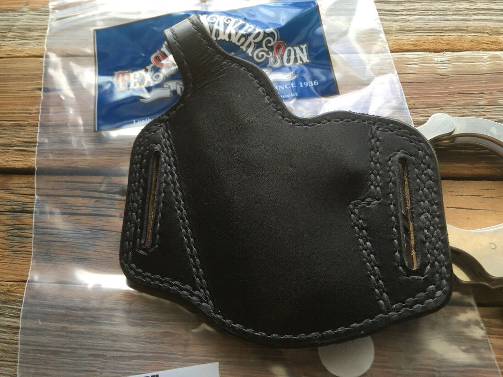 Vintage Tex Shoemaker Plain Black Leather Holster Suede Lined For A S&W 6904 6906