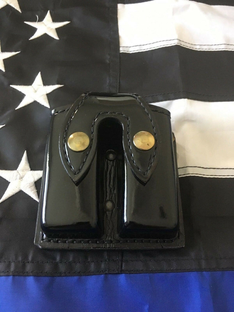 Tex Shoemaker Black Gloss Parade Patent Clarino Double Stack Magazine Carrier Glock Sig Colt