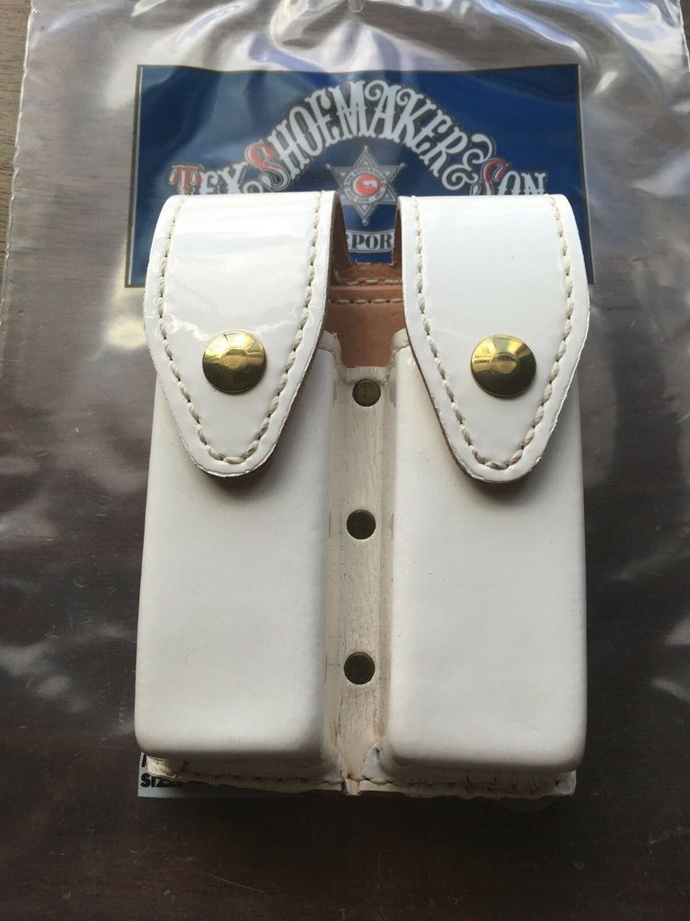 Tex Shoemaker Gloss Patent Clarino Leather Magazine Carrier White For Glock 21 20 21SF