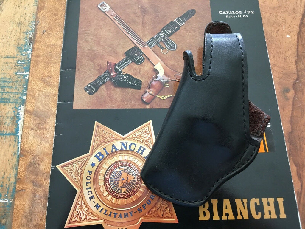 "VTG Bianchi #5B Lined Black Leather OWB Holster For S&W K 2"" Revolver LEFT"