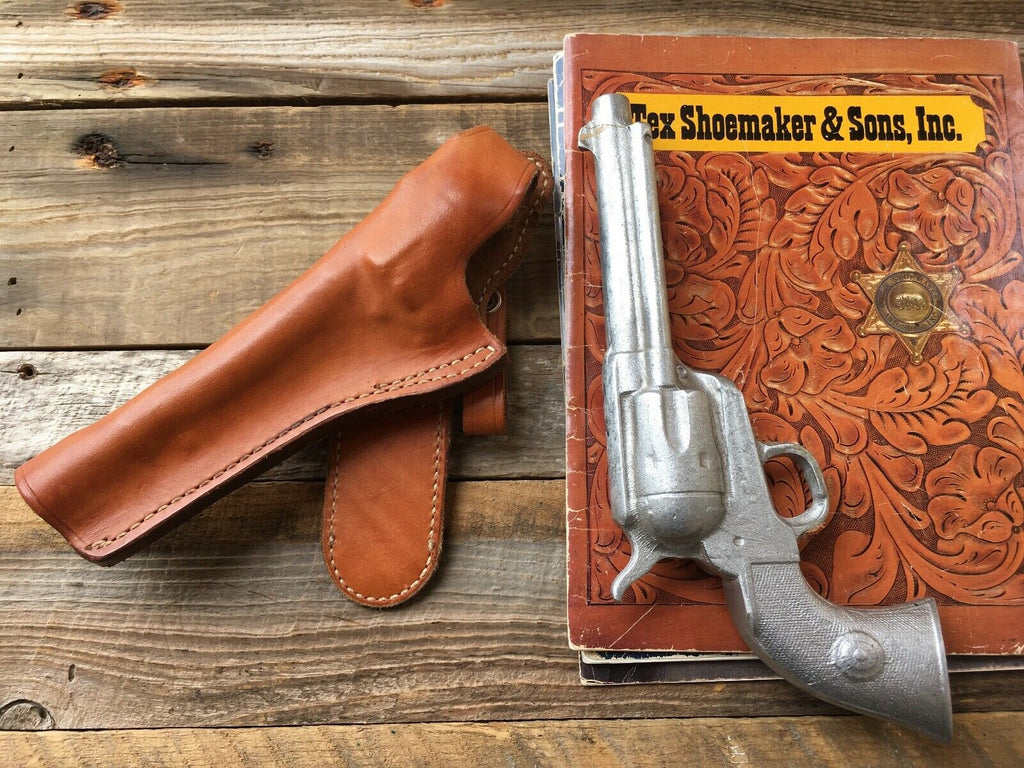 Vintage Tex Shoemaker Brown Leather Cros Draw Holster For Colt SA Army LEFT