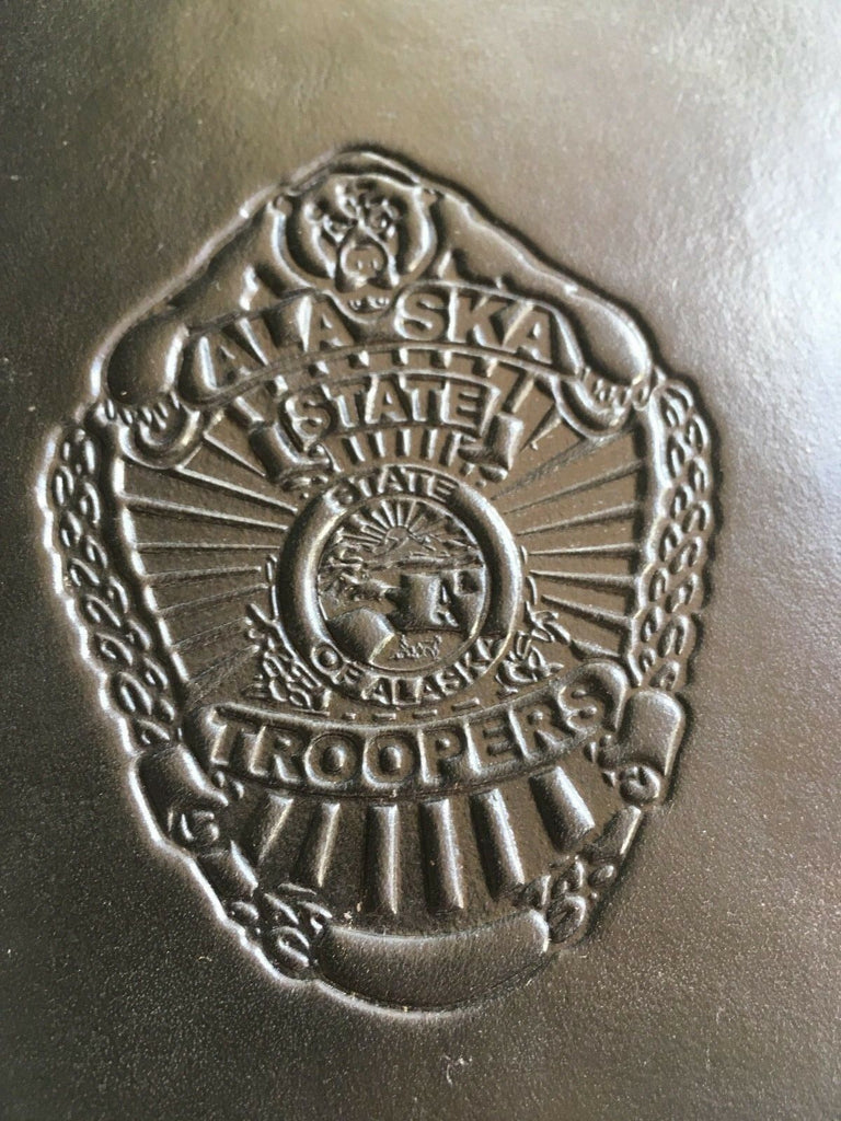 Vintage Tex Shoemaker Alaska State Troopers Leather Note Pad Holder 6 1/8 x 9.25