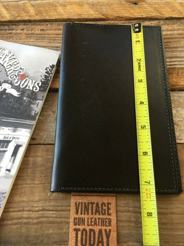 "Vintage Tex Shoemaker Police Note Pad Holder Black Leather 7 1/4"" x 4 1/2"" EMS"
