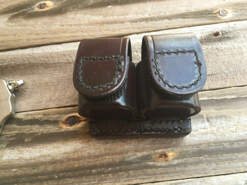 Tex Shoemaker 103 Brown Leather Double Speedloader Holder .357 K Frame with Velcro
