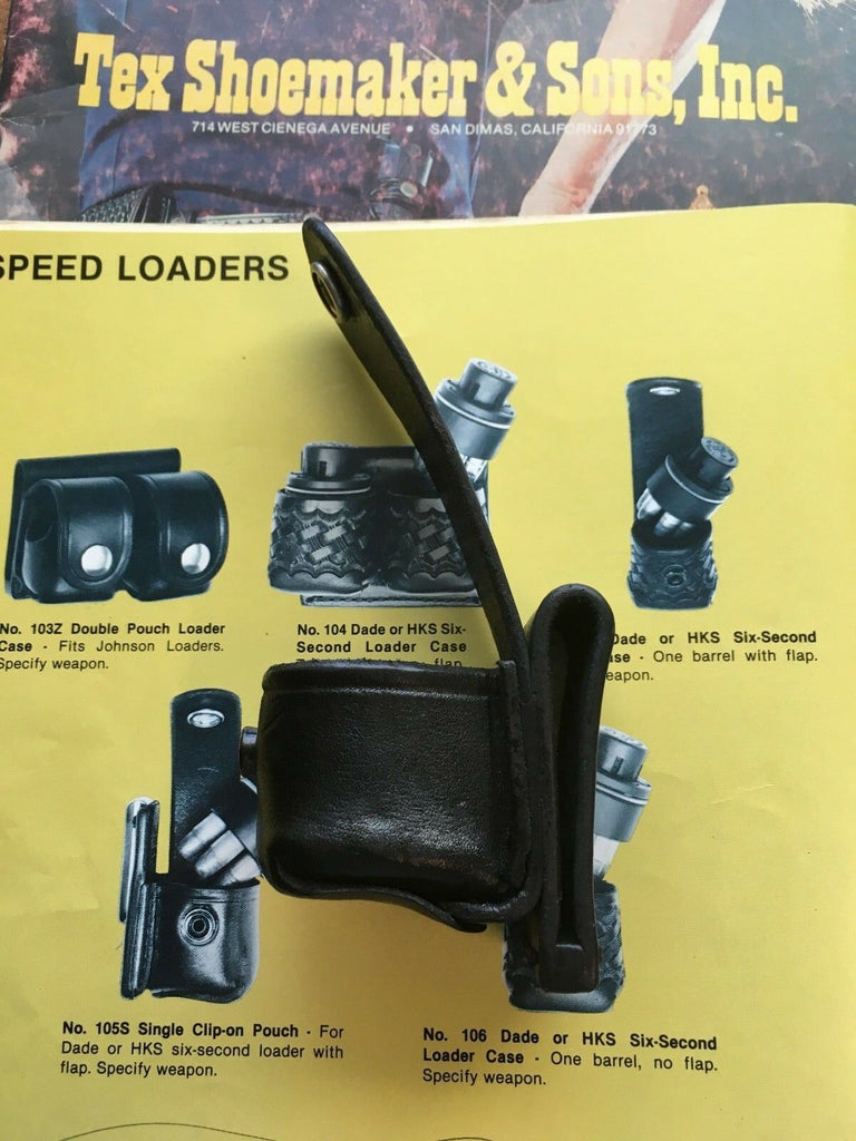 Tex shoemaker Black Leather Single Speedloader Holder 105 Medium 357 Revolver