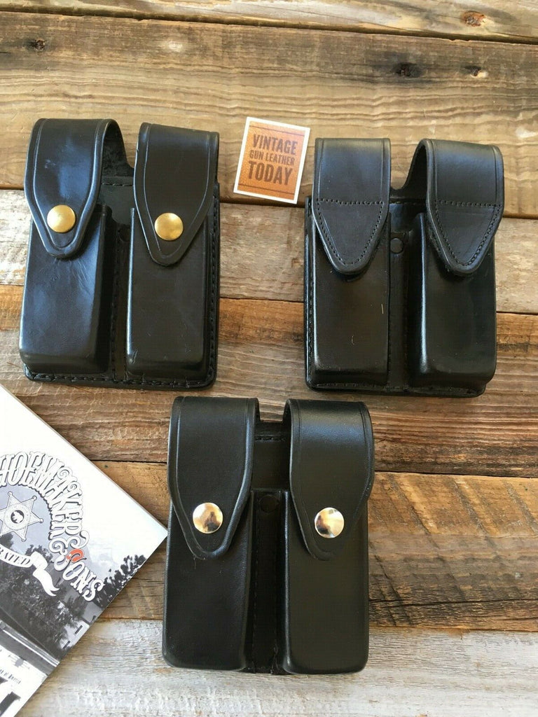 Tex Shoemaker Black Leather Duty Double Magazine Carrier For HK USP .45 H&K