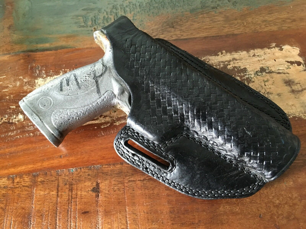 Tex Shoemaker Black Basketweave Leather Holster For S&W M&P Auto