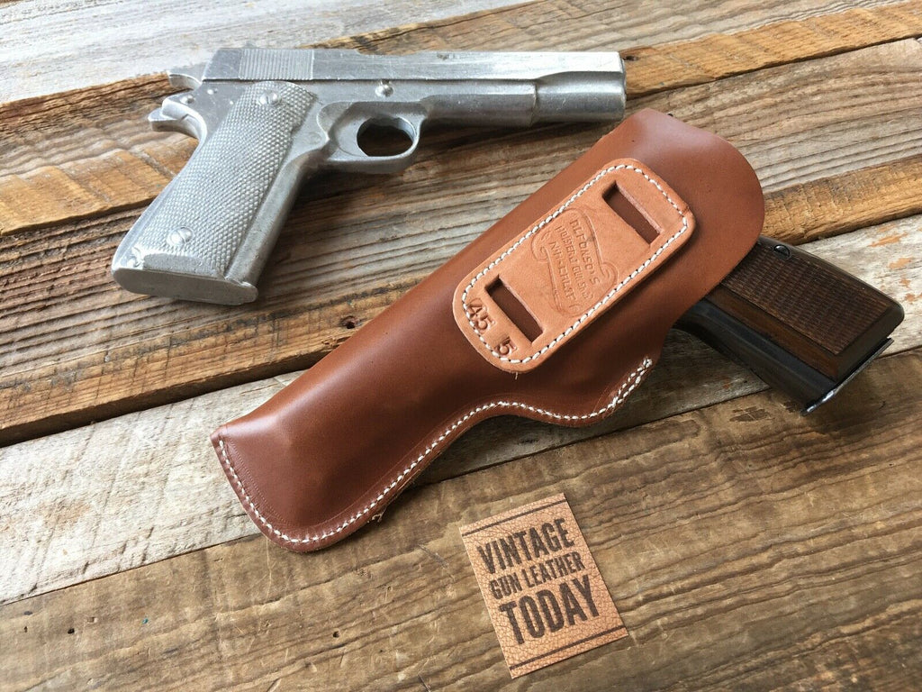 "Vintage Alfonsos Brown Leather IWB Holster for Colt 1911 5"" Browning Hi Power"
