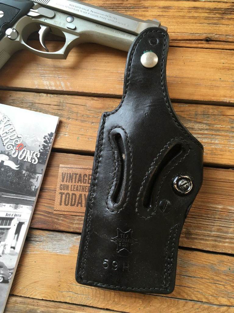 Tex Shoemaker L2 Black Basketweave Leather Lined Retention Holster For Beretta 92