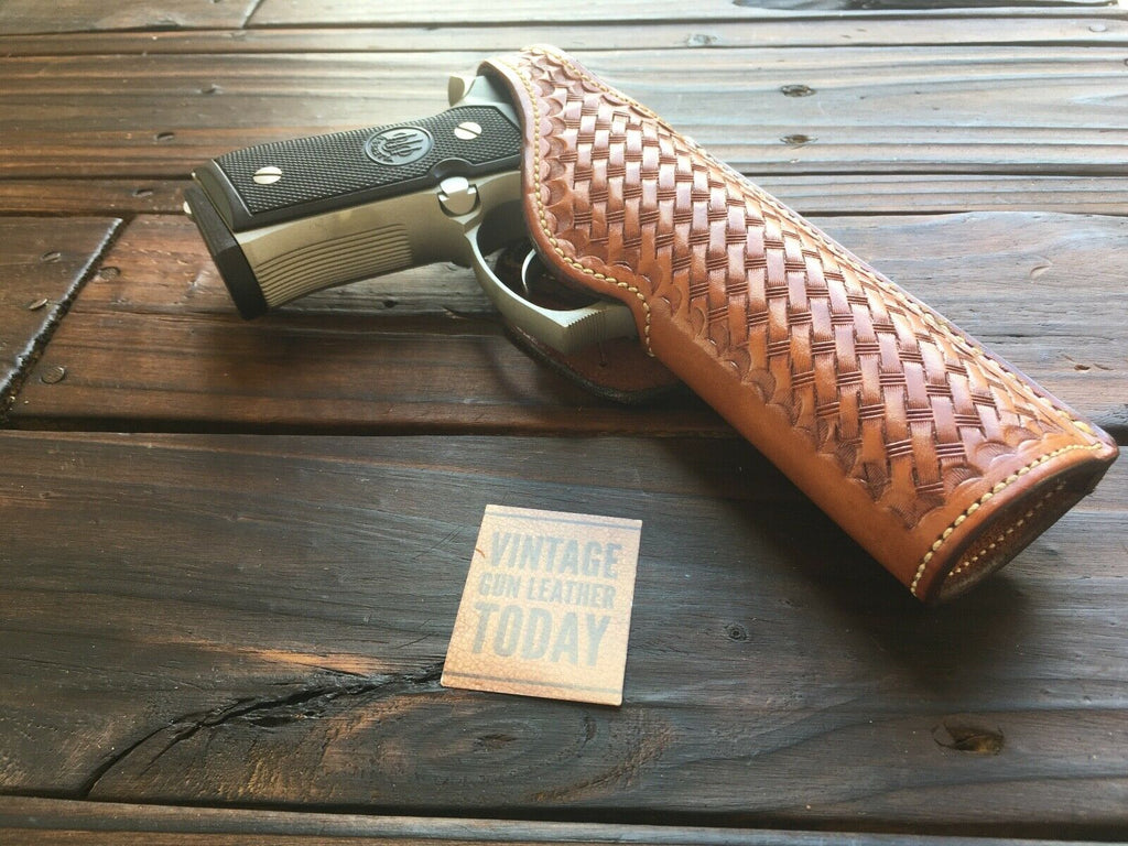 Vintage Alfonsos Brown Basketweave Leather Lined Holster For Beretta 92F 96D Right