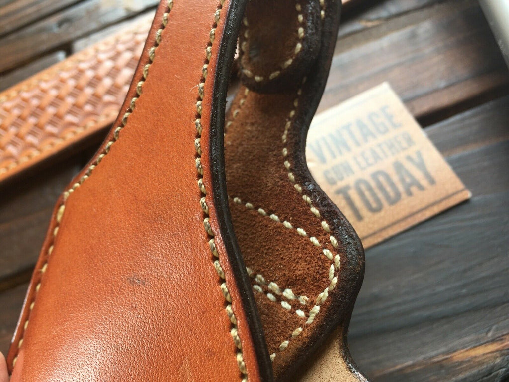 Vintage Alfonsos Plain Brown Leather Lined Holster For Beretta 92F 96D LEFT
