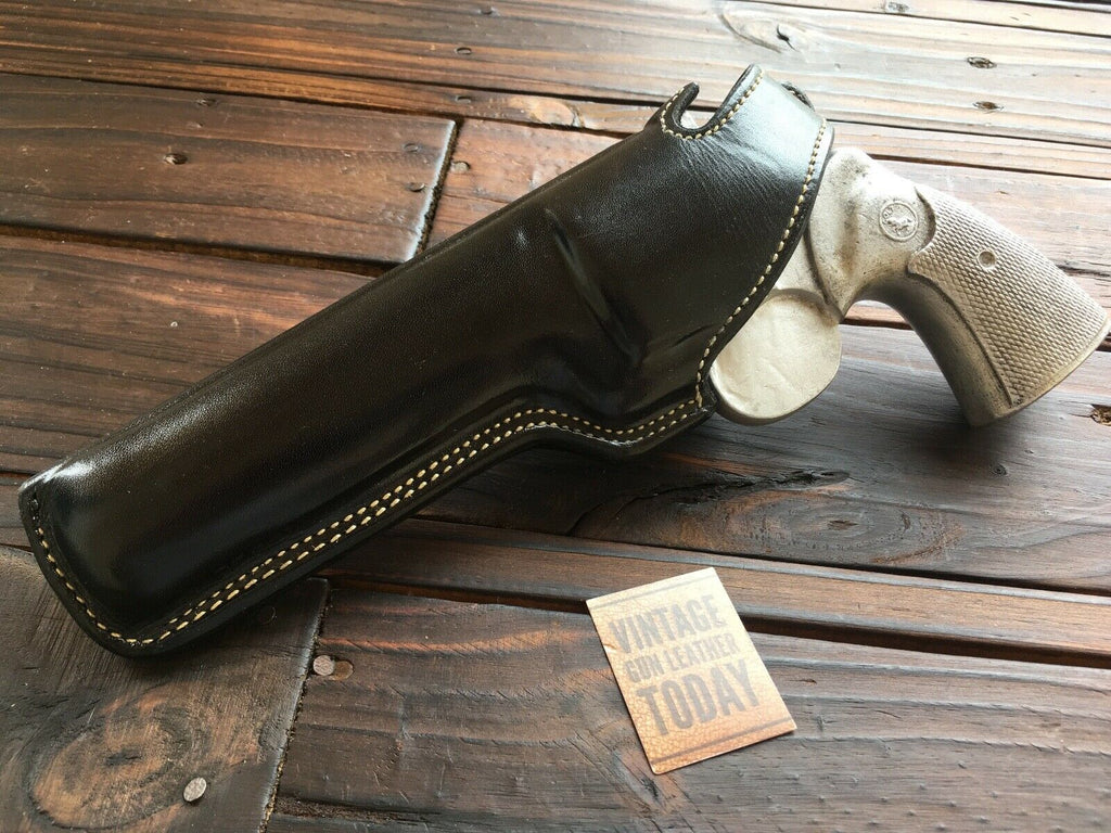 "Vintage Alfonsos Black Leather White Stitched Holster For Colt Python 6"" Revolver Suede Lined"