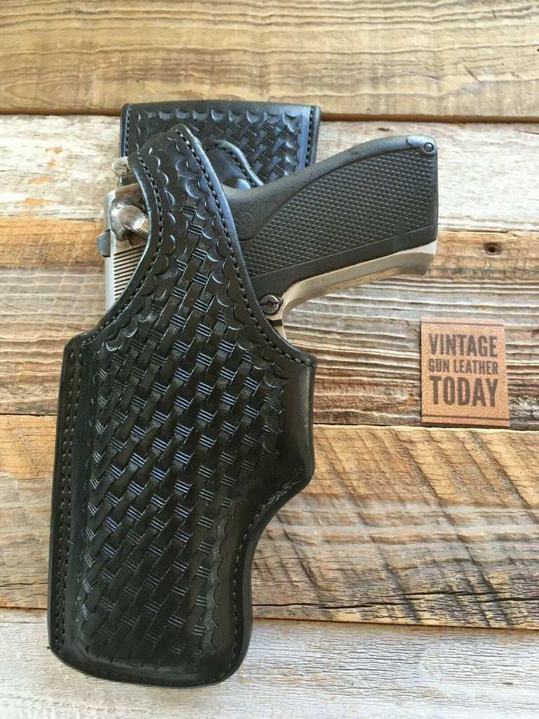 Alfonso's Black Basketweave Leather Lined Duty Swivel Holster For S&W 5906 LEFT