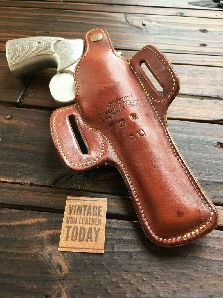 "Vintage Alfonsos Brown Leather Holster For Colt Python Revolver 6"" Suede Lined Left"