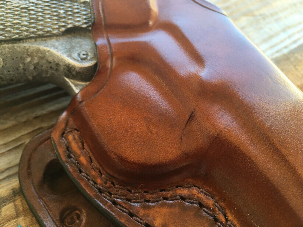 Vintage Style Red Nichols Brown Horsehide Leather Holster For Colt Government 45