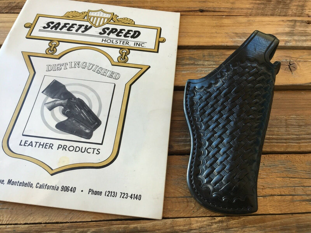 Vintage Safety Speed Black Basketweave Leather Holster For S&W K Frame Revolver