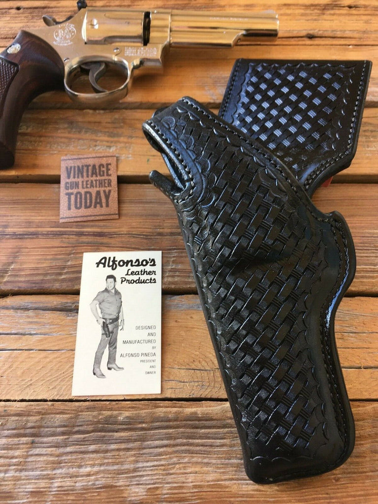 Alfonso's Black Basketweave Leather Border Patrol Holster For S&W 586 / 686 L