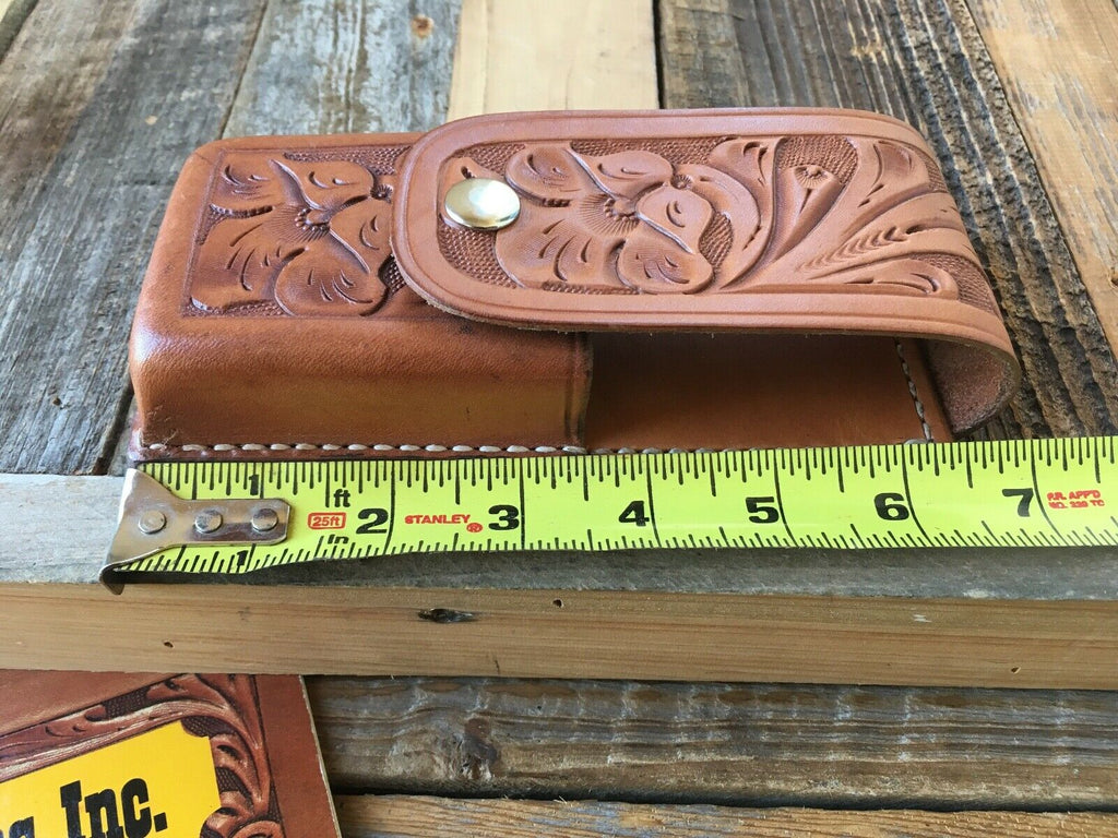 Vintage Tex Shoemaker Brown Leather Multi Use Case Hand Floral Carved