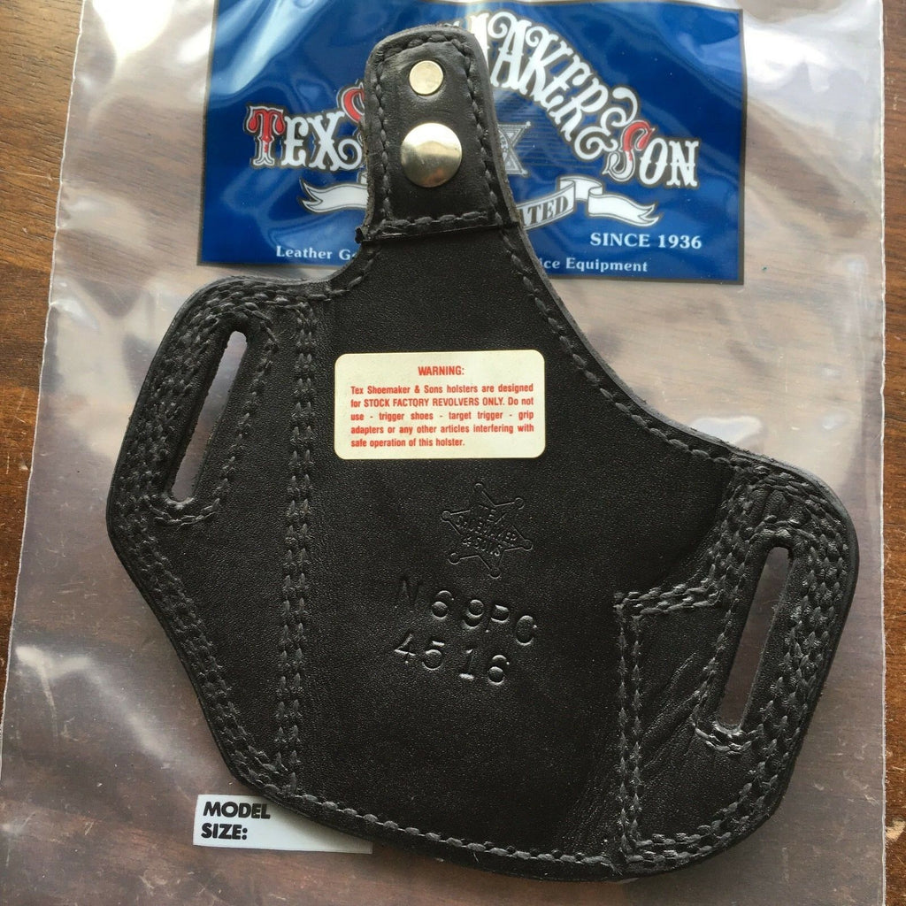Vintage Tex Shoemaker Black Leather Suede Lined OWB Holster For S&W 4516
